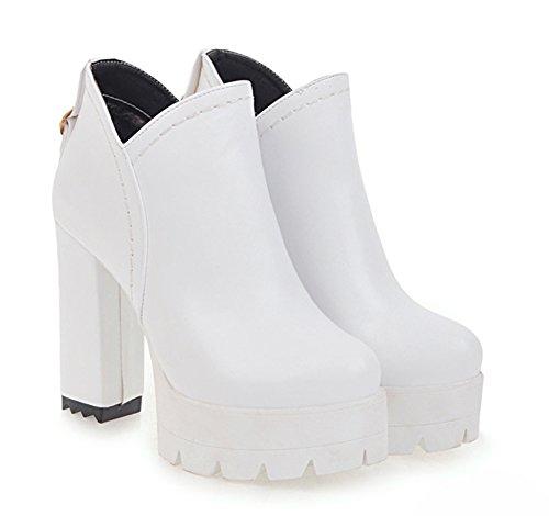 Chunky Classique Femme Aisun Bottines Blanc Fermeture Eclair Cheville pfzq7w