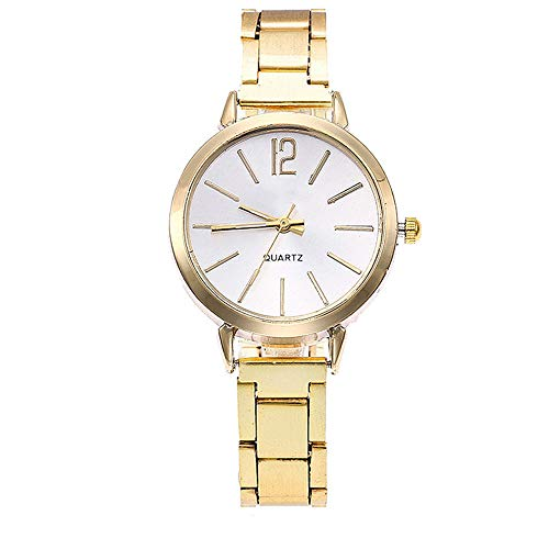 FEDULK Womens Casual Wrist Watch Stainless Steel Band Strap Analog Round Quartz Watch Good Gifts(Gold, One Size) ()