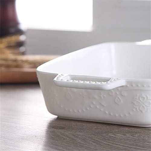 セラミック天板 2個ピュアホワイトセラミック焼きチーズ焼きライストレイ電子レンジベーキングトレイ セラミック長方形のベーキングトレイ (色 : White, Size : 22x16.5x5cm)