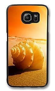 VUTTOO Rugged Samsung Galaxy S6 Edge Case, White Seashell Close Up Sunset PC Hard Case for Samsung Galaxy S6 Edge Black