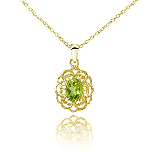 (Ice Gems Yellow Gold Flashed Sterling Silver Peridot Filigree Oval Flower Necklace)