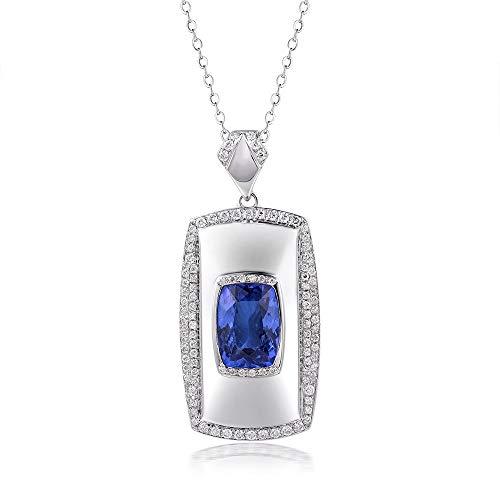 Lanmi 14k/18k White Gold Natural Mens Sapphire Tanzanite Pendant Necklace with Diamonds Engagement Wedding