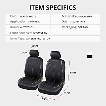 AUTOYOUTH Soft Luxury PU Leather with Plaid design Car Seat CoversAuto Interior Car Seat Protector 2PCS For Toyota