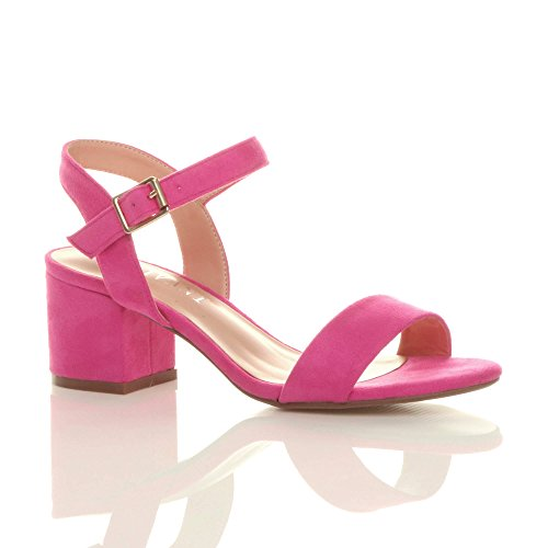 Block Fuchsia Pink Ladies Size Party Sandals Womens Strap Strappy Heel Ankle Suede Toe peep mid Low Ajvani 6ZI51Owq5