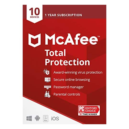 McAfee Total Protection 2021, 10 Device, Antivirus Internet Security Software, Password Manager, Parental Control…
