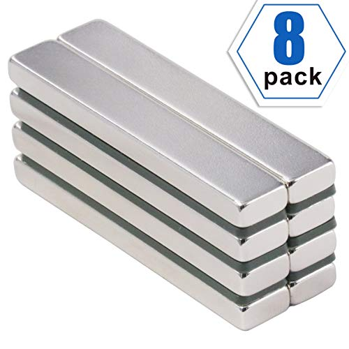 (Powerful Neodymium Bar Magnets, Rare-Earth Metal Neodymium Magnet, N45, Incredibly Strong 33+ LB Strength - 60 x 10 x 5 mm, Pack of 8)