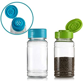 Set of 2 - Plastic Salt and Pepper Shakers with Lid, Moisture Proof Spice Dispenser, Seasoning Container Pourer with Shaker Lids, 3.5 oz. (Green/Blue)