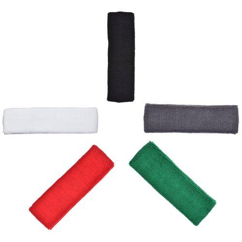 COSMOS ® Pack of 5 Pcs Different Color Cotton Sports Basketball Headband /Sweatband Head Sweat Band/Brace – DiZiSports Store