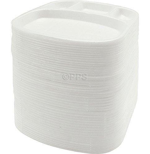 Party & Paper Solutions 50 bandejas de sección de poliestireno (4 Secciones), Ideal para Alimentos fríos y Calientes.: Amazon.es: Hogar