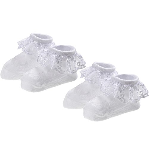 Epeius Baby-Girls Newborn Eyelet Frilly Lace Socks Princess White/Pink (Pack of2) 12-24 Months White from EPEIUS