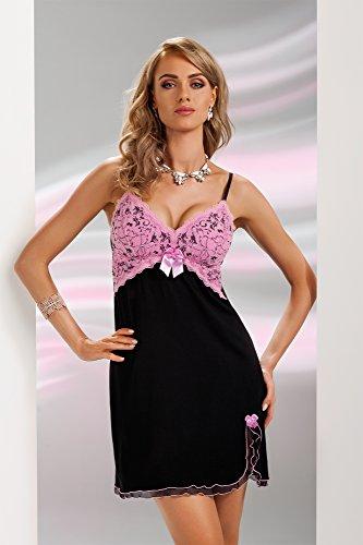 confezione Rosa in Donna una con da splendida regalo fantastica notte scollatura viscosa Principesca Nero camicia negligé in rZqOrT