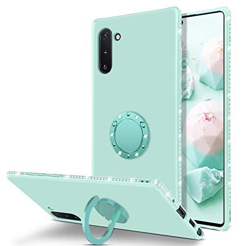 BENTOBEN Samsung Galaxy Note 10 Case, Slim Silicone   360° Ring Holder Kickstand   Rhinestone Bumper Shockproof Women…
