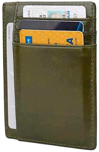 - Leather RFID Blocking Minimalist Credit Card Holder Slim Pocket Wallets for Men Women