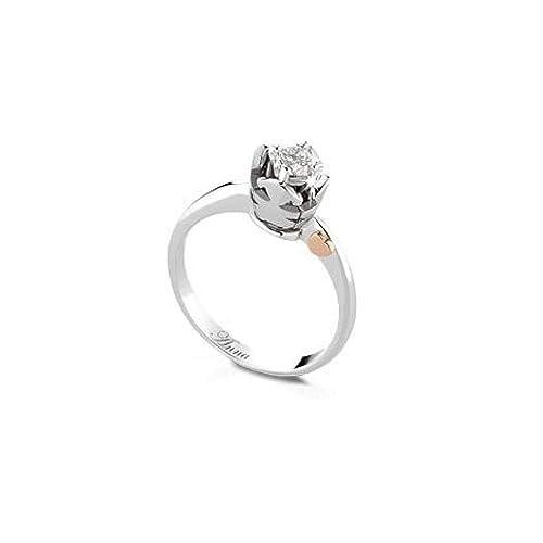 a1358396e800ce Anello Le Bebè - I Solitari Cestino - bimbo e bimba in oro bianco con cuore  in oro rosa e diamante da 0.10ct: Amazon.it: Gioielli