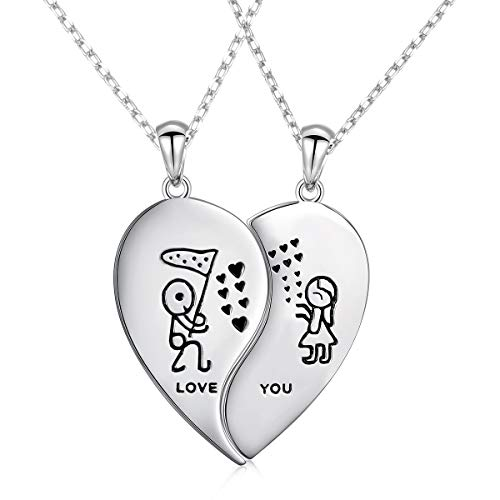 S925 Sterling Silver Mens Womens Half Heart Love Couple Lovers Valentine BFF Pendant Necklace Matching Best Friend Friendship