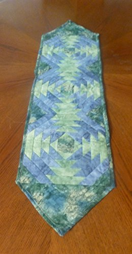 (Quilted Table Runner 10 x 40 Pineapple Style Shades of Blue and Green)