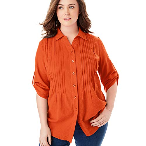 Woman Within Women's Plus Size Pintucked Button Down Gauze Shirt - Grenadine, M
