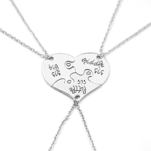 e of Big Sis Middle Sis Lil Sister Necklace Set Heart Shape Puzzle ()