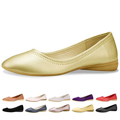 - CINAK Women Flats Shoes – Slip-on Ballet Comfort Walking Shoes for Women (7-7.5 B(M) US/ CN39 / 9.5'', Gold)