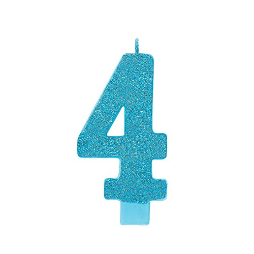 amscan Numerical Candles, Numeral #4 Large Glitter Candle, Party Supplies, Caribbean Blue, 5 1/4