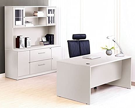 Charmant Modern White Office Desk With Credenza U0026 Hutch For Maximum Storage