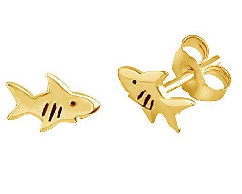 - Shark Fish Stud Earrings In 14K Yellow Gold Over Sterling Silver