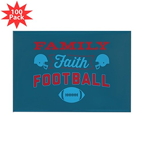 CafePress - Family Faith Football - Rectangle Magnet (100 pack) by CafePress