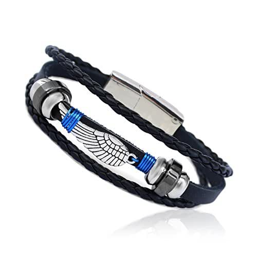 """EAGLE Wing Feather Wire Wrapped Vintage Genuine Leather 3 Strand Unisex Bracelet 8.2"""" Alloy NEW Magnetic Clasp Hematite Stunning Wristband Fashion Cuff for Men Women, Stylish 3-Tier Comfort Fit Band"""