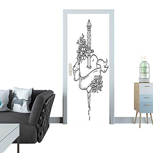 Anmaseven Glass Door Sticker Decals Heart Decorated with Flowers Pierced with Dagger Tatoo Ancient Dagger Piercing Heart with Dripping Blood Black and White Door Sticker Mural 27x59(69x150 ()