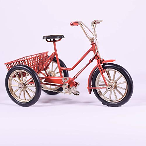 EliteTreasures Retro Metal Red Tricycle Model - Decorative Collectible Ornament - 3-Wheel Vintage Style Bicycle Figurine Bike