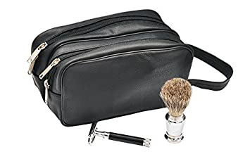 Mens Large Leather Toiletry Dopp Kit Wash Bag Made of 100% Genuine Leather Buffalo Hide Two Compartment Shaving Kit Travel Bag