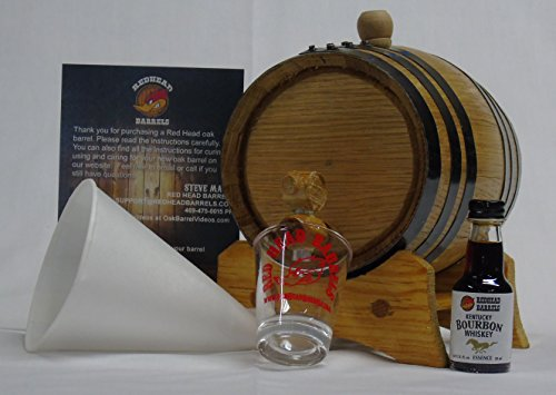 1 Liter Charred Oak Barrel Flavor Kit w/Essence for making your own flavored alcohol (Kentucky Bourbon) by Red Head Barrels