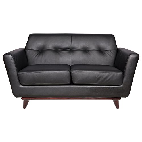 LeisureMod Modern Luray Tufted Loveseat with Cherry Oak Base in Black (Cherry Leather Loveseat)