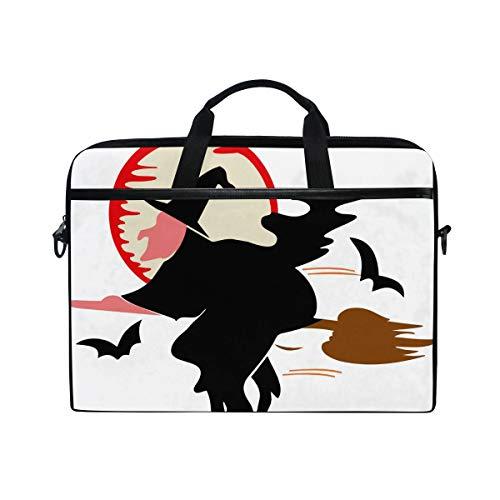 IMOBABY Bats Broom Halloween Magic Moon Laptop Bag Canvas Messenger Shoulder Bag Briefcase Fits 15-15.4 inch ()