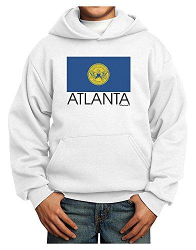 TooLoud Atlanta Georgia Flag Text Youth Hoodie White Extra-Large Atlanta Braves Pullover Jacket