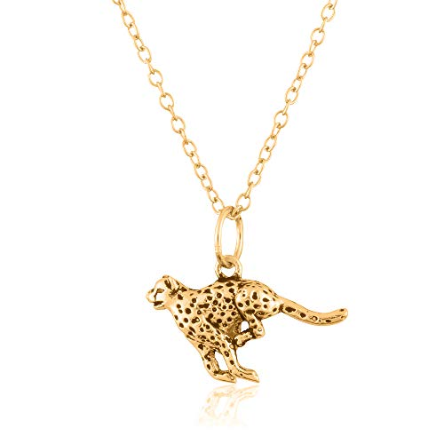 Sterling Silver 18K Yellow Gold Plated 3D Leopard Pendant/Charm, with 18-Inch Chain - in Beautiful Antique Brushing