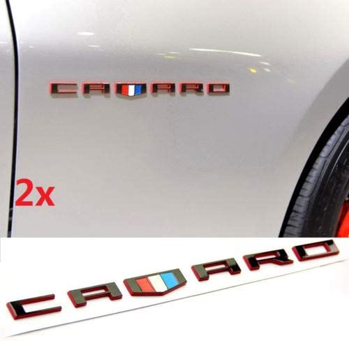 Black Red Vestian 2 Pair Black CAMARO Fender Side Door EMBLEMS Badge Nameplate For Chevy CAMARO GM RS SS ZL1