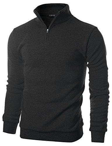GIVON Mens Slim Fit Quarter Zip Up Long Sleeve Mock Neck Pullover (Acrylic Fleece)