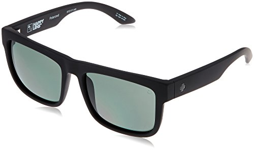 Spy Optic Discord Polarized Flat Sunglasses, Soft Matte Black/Happy Gray/Green Polar, 57 - Discord Spy