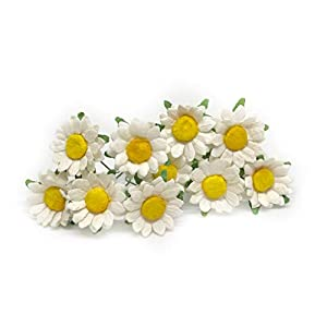 2cm White Yellow Paper Daisies with Wire Stems Mulberry Paper Flowers Floral Crown Flowers Miniature Flowers For Crafts Artificial Flowers, 25 Pieces 51