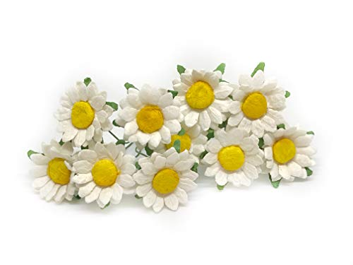 2cm White Yellow Paper Daisies with Wire Stems Mulberry Paper Flowers Floral Crown Flowers Miniature Flowers For Crafts Artificial Flowers, 25 Pieces