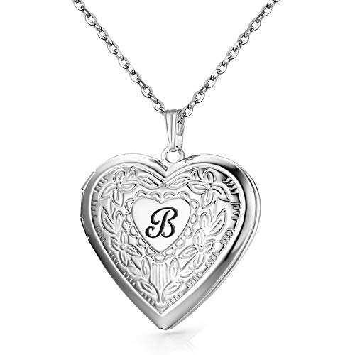 Engraved Locket Necklace - YOUFENG Locket Necklace That Holds Pictures Initial Alphabet A-Z Letter Pendant Necklace Platinum Plated Gifts for Women (B)