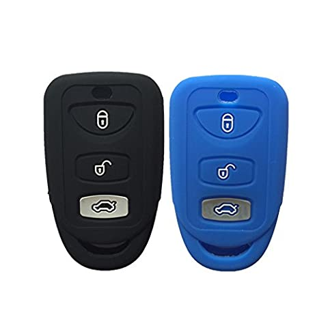 Black and Navy Blue 3 Buttons Silicone Key Fob Case Cover Jacket Key Skin fit for Kia Hyundai (Remote Start 2014 Hyundai)