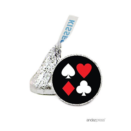 Andaz Press Chocolate Drop Labels Stickers, Wedding, Casino Heart Club Diamond Spades, 216-Pack, For Hershey's Kisses Party Favors, Gifts, Decorations, Vegas Casino Night Envelope Seals (Spade Heart Diamond)