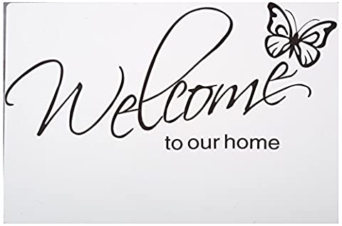 MZY Butterfly Pattern Welcome to Our Home Quotes Saying Vinyl Wall Sticker, 71X21cm - Vinyl Quote Design Sticker