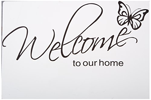 (LovingIn XQ1 Butterfly Pattern Welcome to Our Home Quotes Saying Vinyl Wall Sticker, 71X21cm)