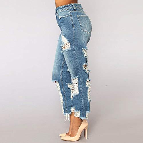 Vitello Pantaloni Moda Slim Denim Sciolto Jeans donna Buca jeans Donna Lqqstore Lunghezza Vita Strappati Alta Azzurro Design Stretch zx7OPnw