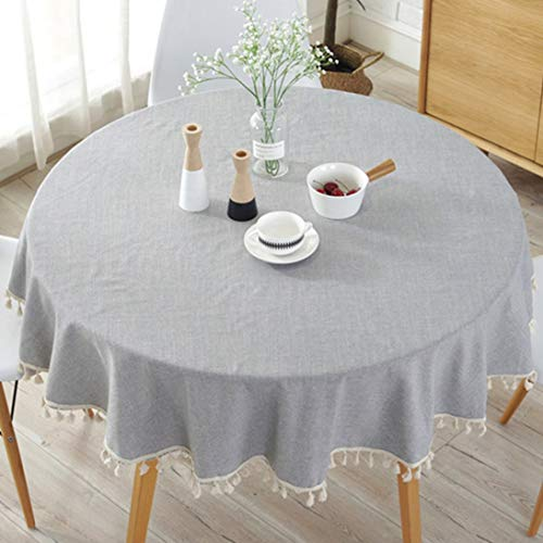 - 150150cm Tassel Plain Cotton Linen Tablecloth Round Table Cloth Dining Table Cover Home/Hotel/Dinner Decorative