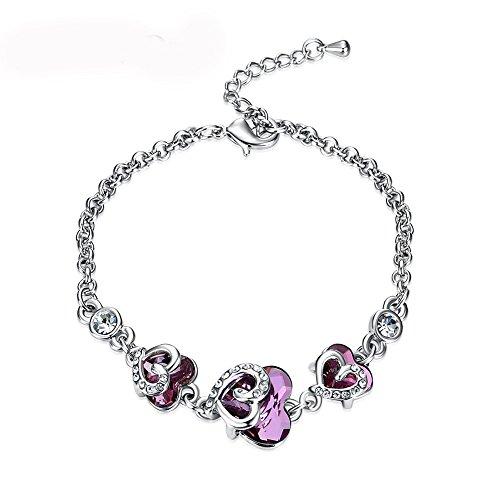 Plating Silver Swarovski purple crystal Love Heart Tennis Bracelet,Girl's (Swarovski Crystal Letter)