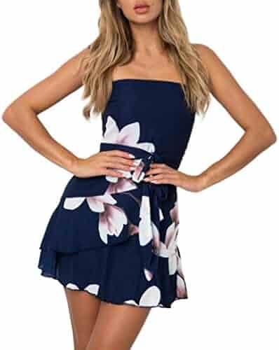 8efd7c0b2b49 Sunward 2018 Women s Elegant Sexy Casual Off Shoulder Floral Print Sundress  Party Mini Dress